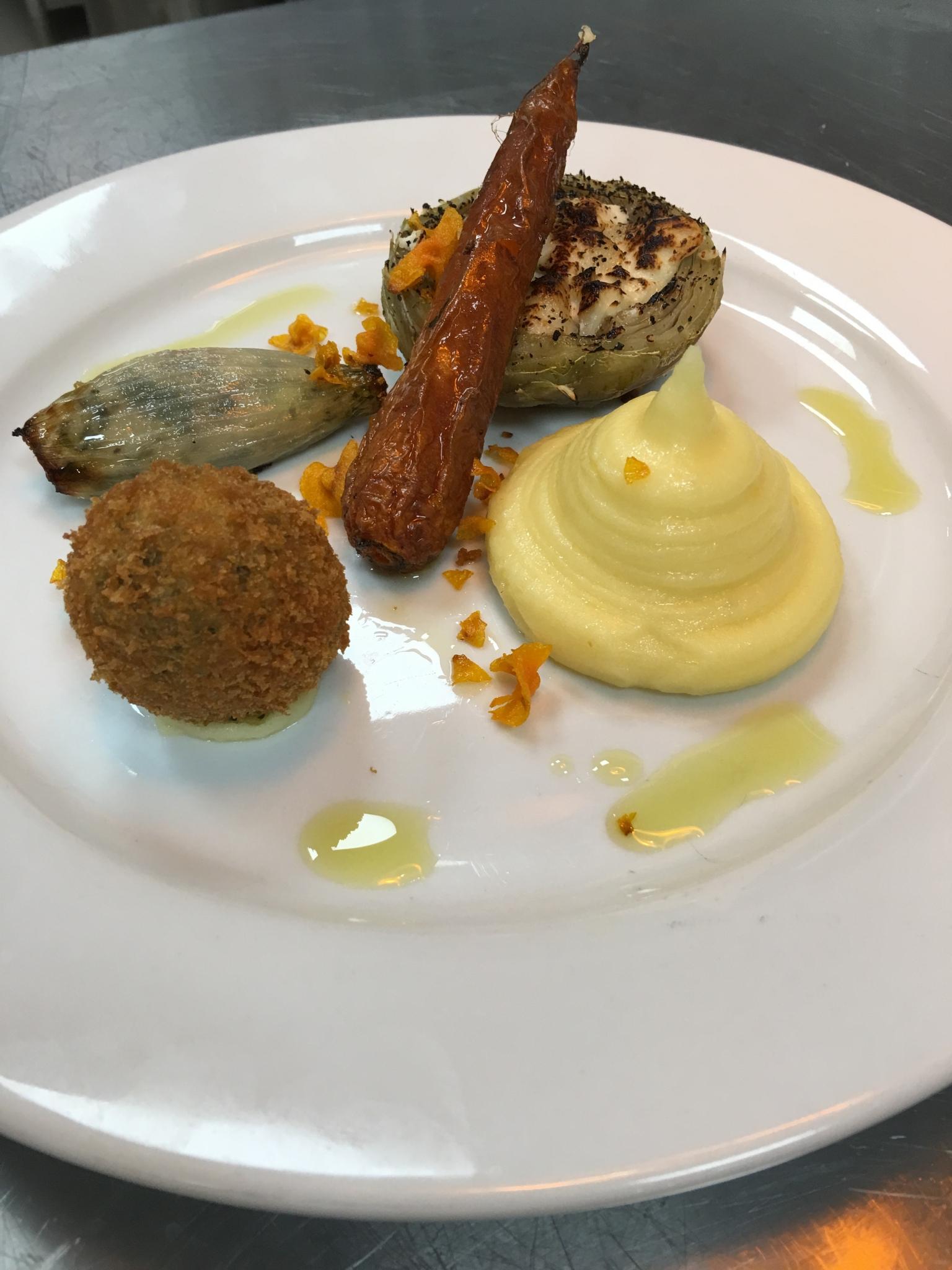 Onion, artichoke, and quales egg