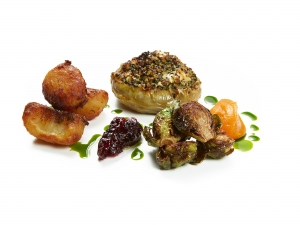 Stuffed Globe Artichoke with Carrot Purée, Sprouts, Roast Potatoes and Cranberry Jelly