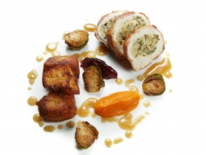 Turkey Sage and Onion Stuffing, Duck Fat Roast Potatoes, Carrot Purée, Sprouts, Gravy