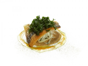 Sea Bass, Roasted Fennel Purée, Fennel and Kohlrabi Salad, Crispy Kale, Orange Reduction