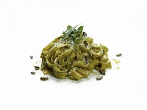 Fresh Home-made Tagliatelle, Rocket and Truffle Pesto, Pumpkin