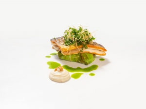 Sea Bass, Cabbage and Charred Lemon Mayonnaise