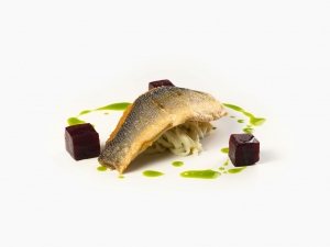 Sea Bass with Celeriac and Beetroot