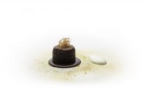 Dark Chocolate and Orange Tart, Chocolate Sauce and Sour Cream