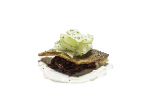 Sea Bass with Beetroot, Celeriac and Apple Salad and a Horseradish Cream