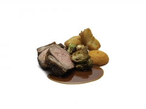 Roast Chump Of Lamb, Duck Fat Roast Potatoes, Carrot Purée, Sprouts and Gravy