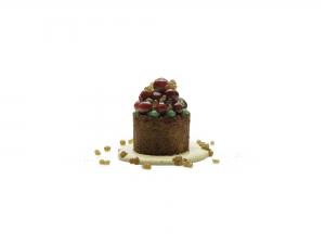 Polenta Sponge, Brandy Custard, Poached Cranberries, Bramley Apple Purée and Apple Jelly